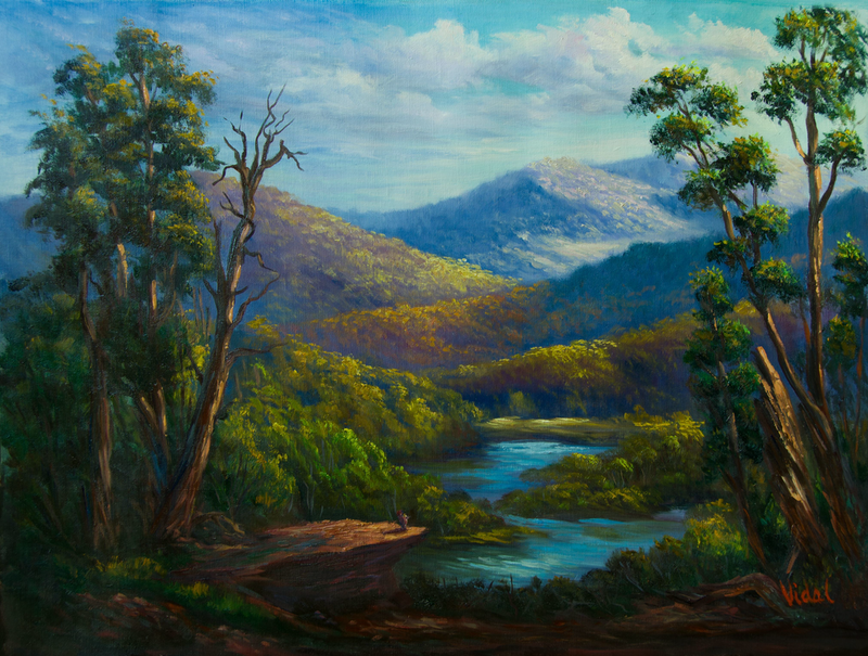 (CreativeWork) Along the snowy river, Victoria - Original Oil Painting  by Christopher Vidal. Oil Paint. Shop online at Bluethumb.