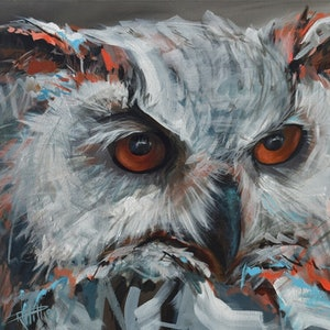 (CreativeWork) White Owl by Rebecca Hill. arcylic-painting. Shop online at Bluethumb.