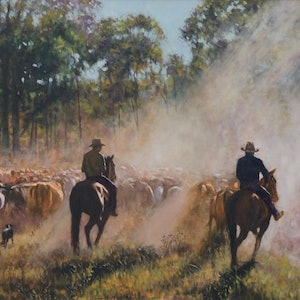 (CreativeWork) A Cattle Muster by Craig Taylor. oil-painting. Shop online at Bluethumb.