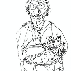 (CreativeWork) Don't Let Go - An old woman with her lap dog by Irma Calabrese. drawing. Shop online at Bluethumb.
