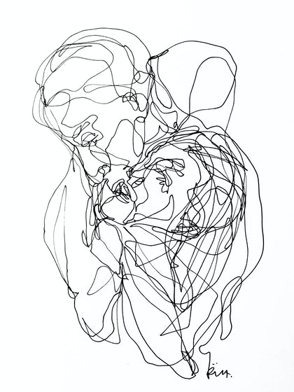 (CreativeWork) Don't Let Go - Kissing by Irma Calabrese. drawing. Shop online at Bluethumb.