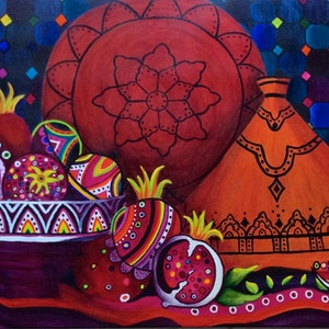 (CreativeWork) Persian Pomegranates by Judy Stephen. #<Filter:0x00007fcaf71f8230>. Shop online at Bluethumb.