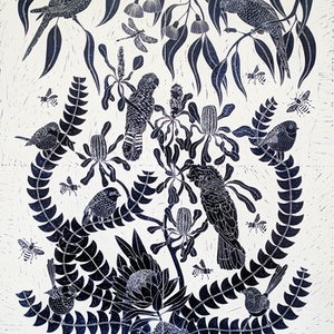 (CreativeWork) Birds in the Bush Lino print Ed. 6 of 150 by Marinka Parnham. print. Shop online at Bluethumb.