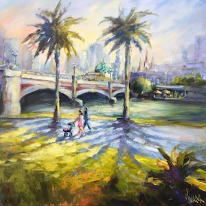 (CreativeWork) A view of Melbourne  by Ivana Pinaffo. arcylic-painting. Shop online at Bluethumb.