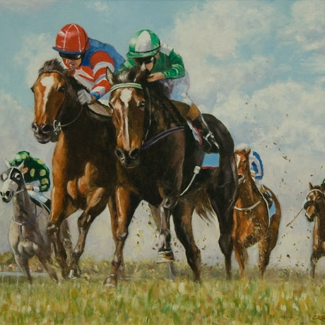 (CreativeWork) Fighting it Out by Craig Taylor. Oil Paint. Shop online at Bluethumb.