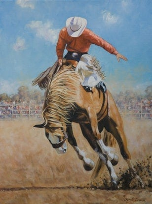 (CreativeWork) The Bucking Bronco by Craig Taylor. Oil Paint. Shop online at Bluethumb.