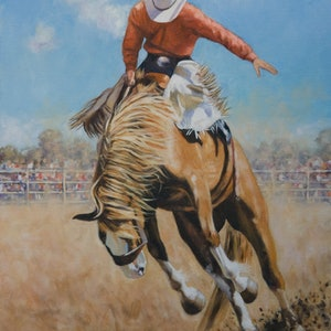 (CreativeWork) The Bucking Bronco by Craig Taylor. oil-painting. Shop online at Bluethumb.