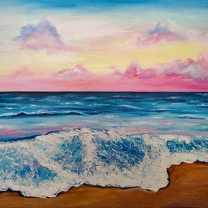 (CreativeWork) Sunset on the beach  by Anastasiia Sutula. oil-painting. Shop online at Bluethumb.