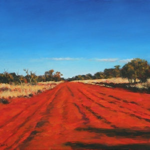 (CreativeWork) Long Red Road Through The Outback. by Craig Taylor. oil-painting. Shop online at Bluethumb.