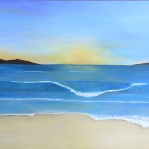 (CreativeWork) a rolling wave by Fiona Farrugia. acrylic-painting. Shop online at Bluethumb.