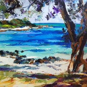 (CreativeWork) Old Dunsborough Foreshore by Carmen McFaull. oil-painting. Shop online at Bluethumb.