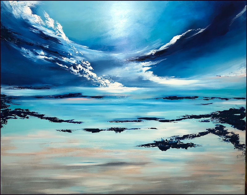 (CreativeWork) CLOUD NINE  (large scale 153x122cm)   by Kat Las. arcylic-painting. Shop online at Bluethumb.