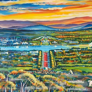 (CreativeWork) Canberra Panorama (commission) by Valentyna Crane. arcylic-painting. Shop online at Bluethumb.
