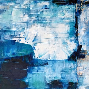 (CreativeWork) Blue Cliffs by David Clare. oil-painting. Shop online at Bluethumb.