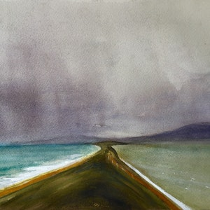 (CreativeWork) Approaching Storm ,Bruny Island , Neck Game Reserve by Geoff Stanistreet. watercolour. Shop online at Bluethumb.