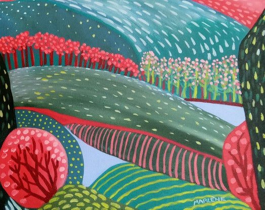 (CreativeWork) Lakeland by Marlène Holdsworth. Acrylic Paint. Shop online at Bluethumb.