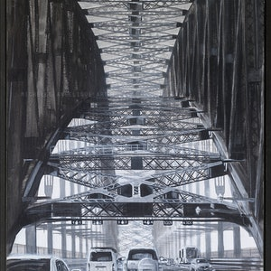 (CreativeWork) Through Sydney Harbour Bridge in Black and White (framed)  by Michelle Angelique. arcylic-painting. Shop online at Bluethumb.