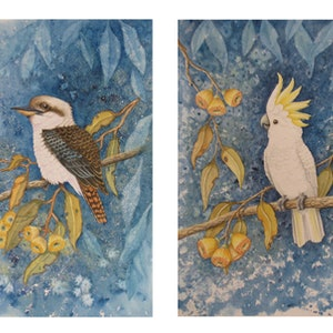 (CreativeWork) Australian Birds - set of 2 Ed. 2 of 100 by Elena Parashko. print. Shop online at Bluethumb.