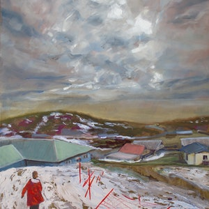 (CreativeWork) She's off to see the wizard. Perisher snow melt, Kosciuszko by fiona smith. oil-painting. Shop online at Bluethumb.