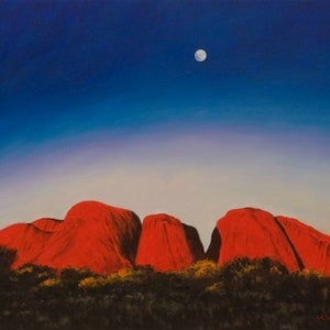(CreativeWork) Moonrise Over The Olgas by Craig Taylor. oil-painting. Shop online at Bluethumb.