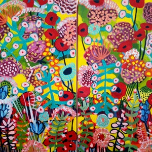 (CreativeWork) Bright Floral Diptych by Marlene Holdsworth. arcylic-painting. Shop online at Bluethumb.