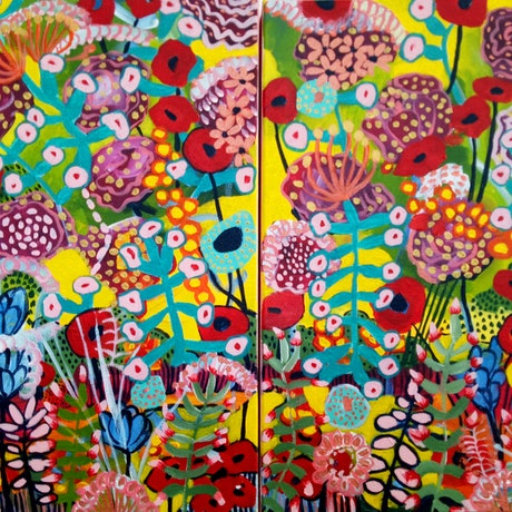 (CreativeWork) Bright Floral Diptych by Marlene Holdsworth. Acrylic Paint. Shop online at Bluethumb.