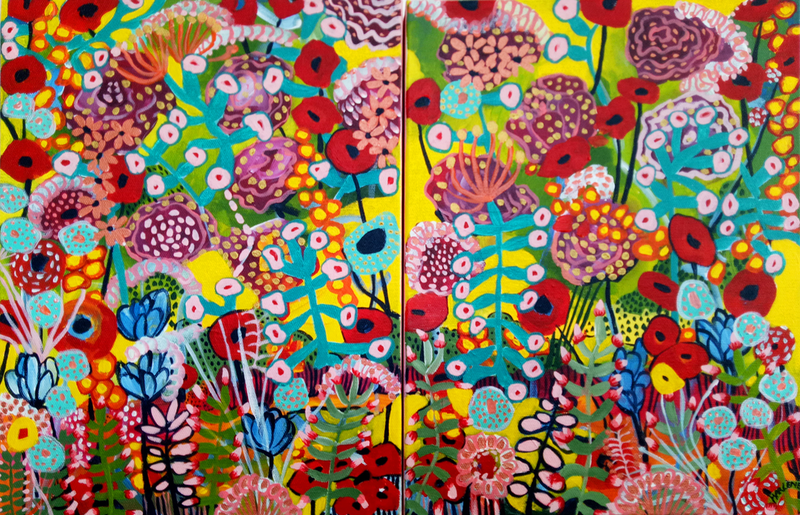 (CreativeWork) Bright Floral Diptych by Marlène Holdsworth. Acrylic Paint. Shop online at Bluethumb.