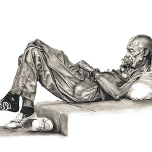 (CreativeWork) Siesta by Adam Shires. drawing. Shop online at Bluethumb.
