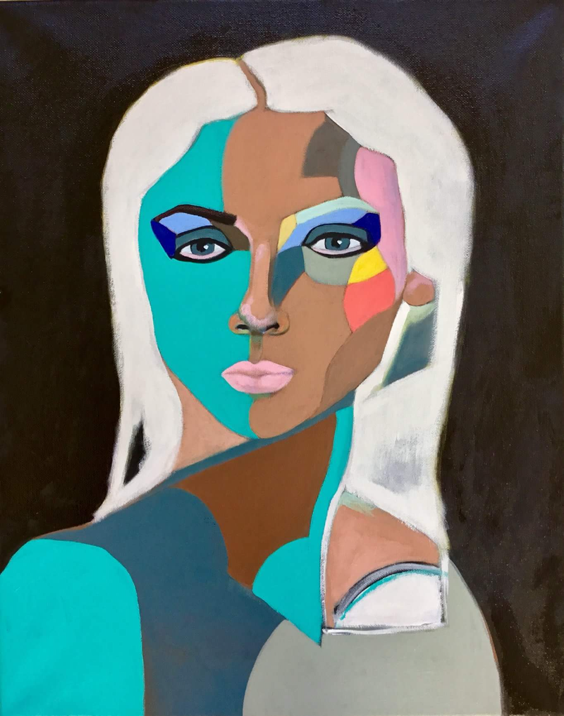 (CreativeWork) Neme - Soft-Cubism Semi-Abstract Portrait Beautiful Woman by Lee Wilde. acrylic-painting. Shop online at Bluethumb.