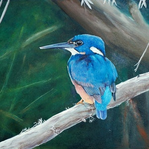 (CreativeWork) Azure Kingfisher by Rhonda Armistead. oil-painting. Shop online at Bluethumb.