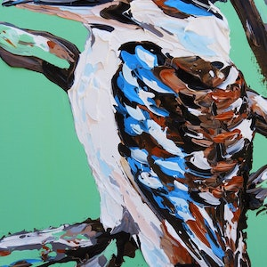 (CreativeWork) Kookaburra on Moss Covered Branches  by Lisa Fahey. arcylic-painting. Shop online at Bluethumb.