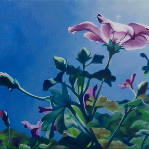 (CreativeWork) Lilac-Hibiscus  by maria radun. Oil Paint. Shop online at Bluethumb.