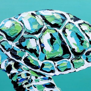 (CreativeWork) Teal Sea Turtle  by Lisa Fahey. arcylic-painting. Shop online at Bluethumb.