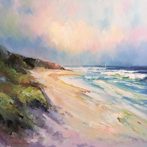 (CreativeWork) Sand dunes at Portsea Back beach #2 by Liliana Gigovic. oil-painting. Shop online at Bluethumb.