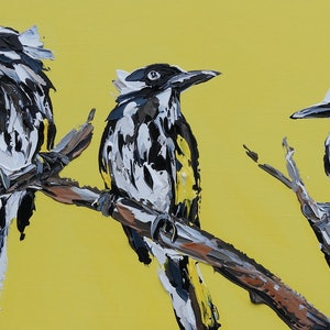 (CreativeWork) New Holland Honey Eaters on Bright Yellow by Lisa Fahey. arcylic-painting. Shop online at Bluethumb.