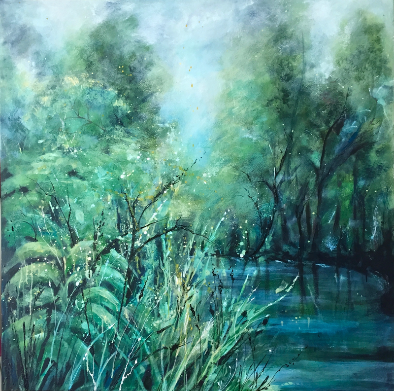 (CreativeWork) A Bend in the River Revisited. by Marion Rispin. arcylic-painting. Shop online at Bluethumb.