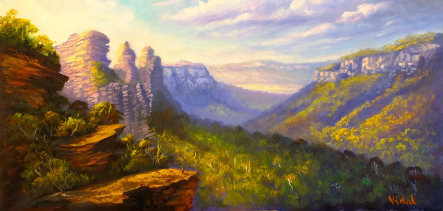(CreativeWork) Early morning light Three Sisters Katoomba - ready to hang by Christopher Vidal. Oil Paint. Shop online at Bluethumb.