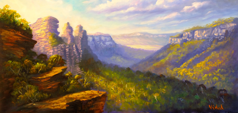 (CreativeWork) Early morning light Three Sisters Katoomba - ready to hang by Christopher Vidal. oil-painting. Shop online at Bluethumb.