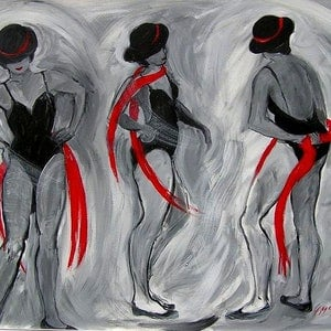 (CreativeWork) Dancing with Red Scarves  by Virginia McGowan. #<Filter:0x000056101e15fc78>. Shop online at Bluethumb.