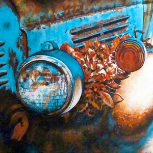 (CreativeWork) Autumn Blues - Vintage Car by Jillian Crider. acrylic-painting. Shop online at Bluethumb.