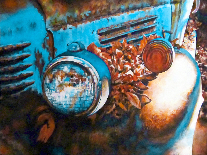 (CreativeWork) Autumn Blues - Vintage Car by Jillian Crider. arcylic-painting. Shop online at Bluethumb.