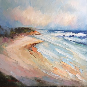 (CreativeWork) Waves at Sorrento Back beach by Liliana Gigovic. oil-painting. Shop online at Bluethumb.