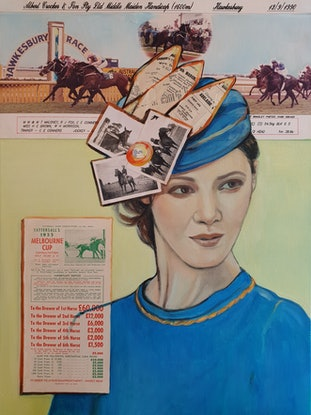 (CreativeWork) It's All About the Hat, Not the Horse by Sherry McCourt. Mixed Media. Shop online at Bluethumb.
