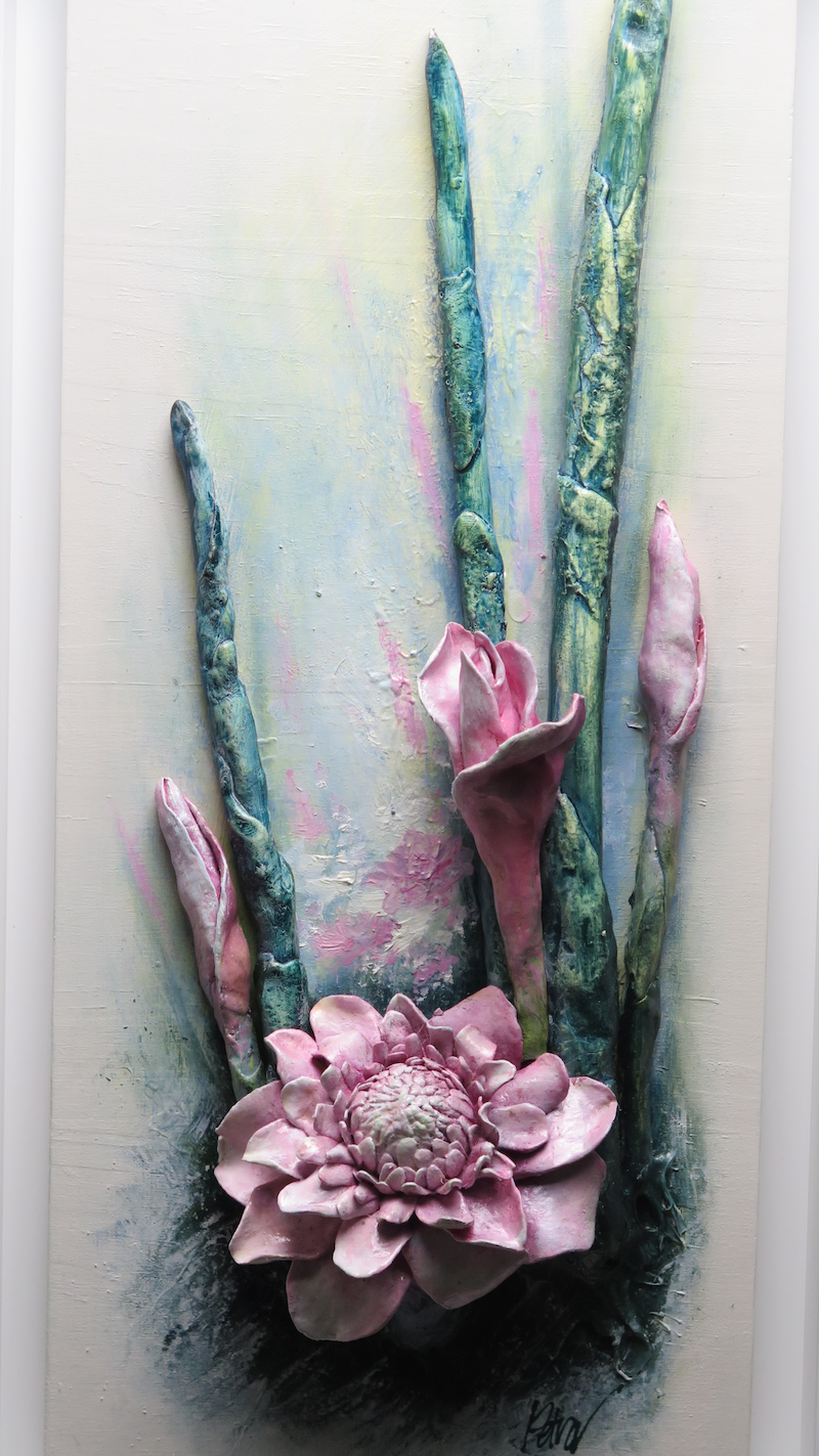 "(CreativeWork) Flower Wall Art ""Pink Torch Gingers Blooming"" by Petra Meikle de Vlas. mixed-media. Shop online at Bluethumb."