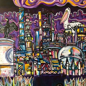(CreativeWork) Refinery by Genevieve Jackson. arcylic-painting. Shop online at Bluethumb.