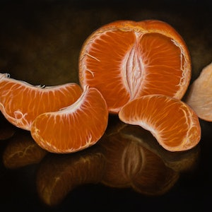 (CreativeWork) Tranquil Mandarin - Orange - Still life by Natasha Junmanee. oil-painting. Shop online at Bluethumb.