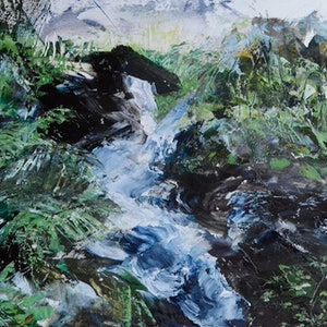 (CreativeWork) The River Running Through by Tiffany Blaise. oil-painting. Shop online at Bluethumb.
