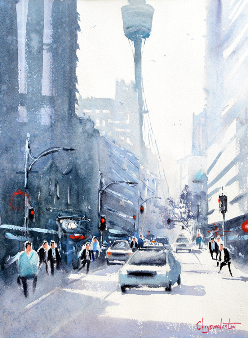 (CreativeWork) Market St, Sydney City by Chrysovalantou Mavroudis. watercolour. Shop online at Bluethumb.