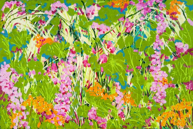 (CreativeWork) Wild Garden by Marlene Holdsworth. Acrylic Paint. Shop online at Bluethumb.
