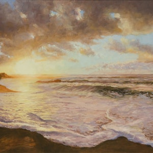 (CreativeWork) The Sun's Last Look. by Craig Taylor. oil-painting. Shop online at Bluethumb.